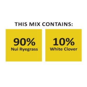 Nui Clover Mix is a seed mixture with different clover seed in it and other grass seed which is sold in the South Island in New Zealand